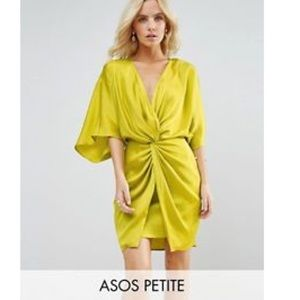 Kimono mini dress in chartreuse